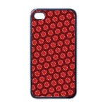 Red Passion Floral Pattern Apple iPhone 4 Case (Black)