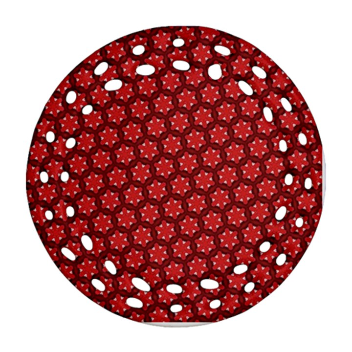Red Passion Floral Pattern Ornament (Round Filigree)