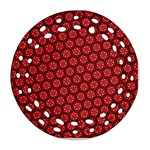 Red Passion Floral Pattern Round Filigree Ornament (2Side)