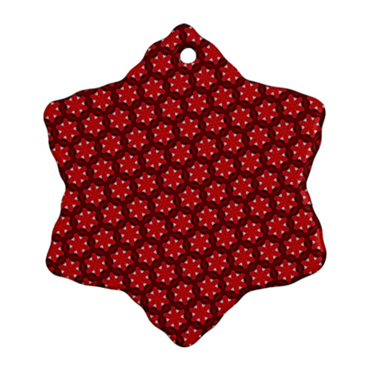 Red Passion Floral Pattern Snowflake Ornament (2-Side)