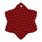 Red Passion Floral Pattern Snowflake Ornament (2-Side) Back