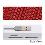 Red Passion Floral Pattern Memory Card Reader (Stick)