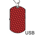 Red Passion Floral Pattern Dog Tag USB Flash (One Side)