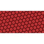 Red Passion Floral Pattern Happy Birthday 3D Greeting Card (8x4) Back