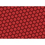 Red Passion Floral Pattern LOVE Bottom 3D Greeting Card (7x5) Back