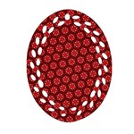 Red Passion Floral Pattern Oval Filigree Ornament (2-Side)
