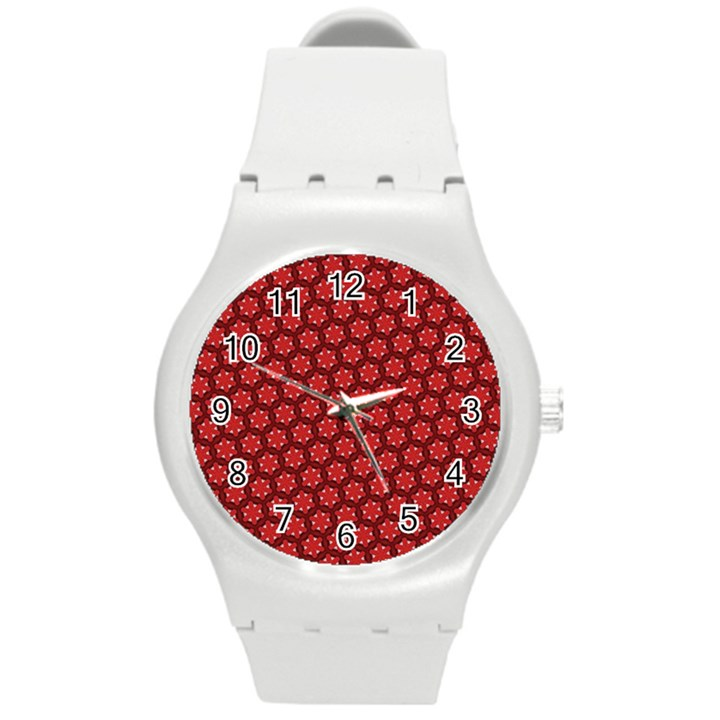 Red Passion Floral Pattern Round Plastic Sport Watch (M)