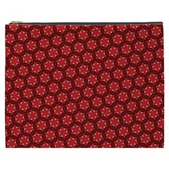 Red Passion Floral Pattern Cosmetic Bag (xxxl)  by DanaeStudio