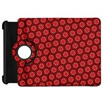 Red Passion Floral Pattern Kindle Fire HD Flip 360 Case