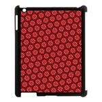 Red Passion Floral Pattern Apple iPad 3/4 Case (Black)