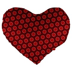Red Passion Floral Pattern Large 19  Premium Heart Shape Cushions by DanaeStudio