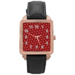 Red Passion Floral Pattern Rose Gold Leather Watch