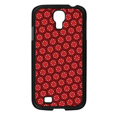 Red Passion Floral Pattern Samsung Galaxy S4 I9500/ I9505 Case (black) by DanaeStudio