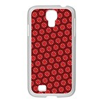 Red Passion Floral Pattern Samsung GALAXY S4 I9500/ I9505 Case (White)