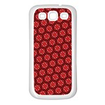 Red Passion Floral Pattern Samsung Galaxy S3 Back Case (White)