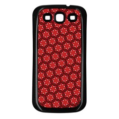 Red Passion Floral Pattern Samsung Galaxy S3 Back Case (black)