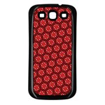 Red Passion Floral Pattern Samsung Galaxy S3 Back Case (Black) Front