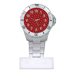Red Passion Floral Pattern Plastic Nurses Watch by DanaeStudio