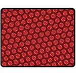 Red Passion Floral Pattern Double Sided Fleece Blanket (Medium)