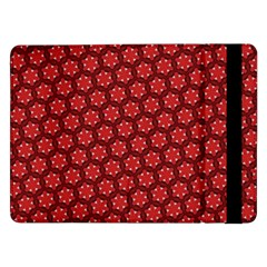 Red Passion Floral Pattern Samsung Galaxy Tab Pro 12 2  Flip Case