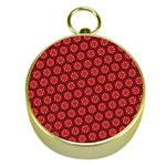 Red Passion Floral Pattern Gold Compasses