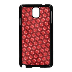 Red Passion Floral Pattern Samsung Galaxy Note 3 Neo Hardshell Case (black) by DanaeStudio