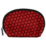 Red Passion Floral Pattern Accessory Pouches (Large)  Front