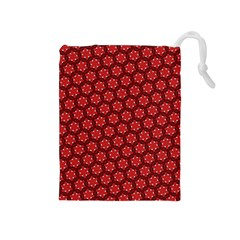 Red Passion Floral Pattern Drawstring Pouches (medium)