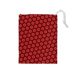 Red Passion Floral Pattern Drawstring Pouches (Medium)  Front