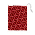 Red Passion Floral Pattern Drawstring Pouches (Large)