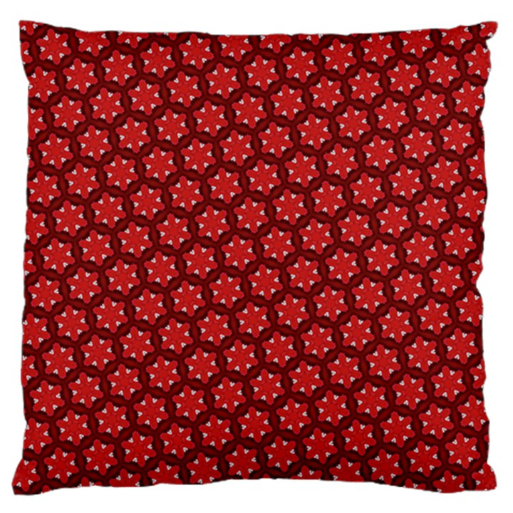 Red Passion Floral Pattern Large Flano Cushion Case (One Side)
