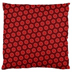 Red Passion Floral Pattern Large Flano Cushion Case (two Sides) by DanaeStudio