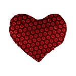 Red Passion Floral Pattern Standard 16  Premium Flano Heart Shape Cushions