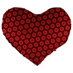 Red Passion Floral Pattern Large 19  Premium Flano Heart Shape Cushions