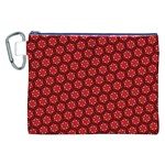Red Passion Floral Pattern Canvas Cosmetic Bag (XXL)