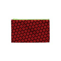 Red Passion Floral Pattern Cosmetic Bag (xs) by DanaeStudio