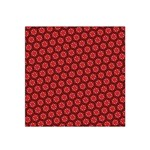 Red Passion Floral Pattern Satin Bandana Scarf Front