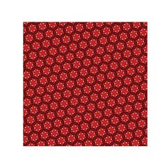 Red Passion Floral Pattern Small Satin Scarf (square)  by DanaeStudio