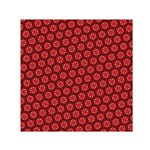Red Passion Floral Pattern Small Satin Scarf (Square)