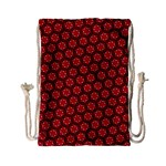 Red Passion Floral Pattern Drawstring Bag (Small)