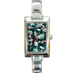Modern Green And Pink Leaves Rectangle Italian Charm Watch