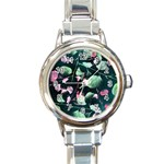 Modern Green And Pink Leaves Round Italian Charm Watch
