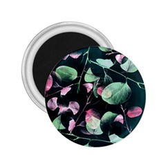 Modern Green And Pink Leaves 2 25  Magnets