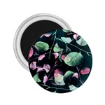 Modern Green And Pink Leaves 2.25  Magnets Front