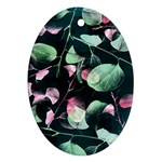 Modern Green And Pink Leaves Ornament (Oval)  Front