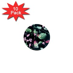 Modern Green And Pink Leaves 1  Mini Buttons (10 Pack)