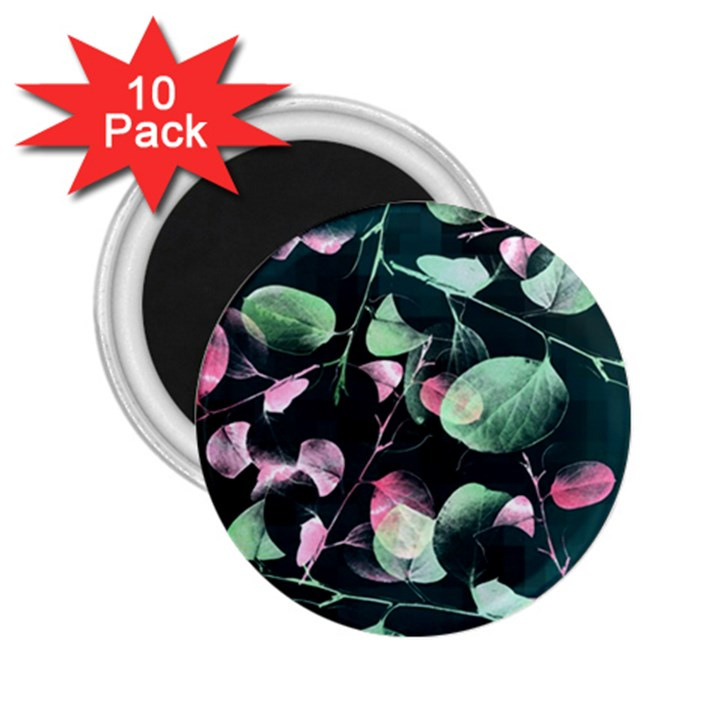 Modern Green And Pink Leaves 2.25  Magnets (10 pack)