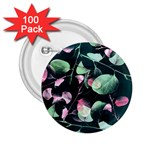 Modern Green And Pink Leaves 2.25  Buttons (100 pack)