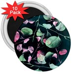Modern Green And Pink Leaves 3  Magnets (10 pack)