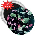Modern Green And Pink Leaves 3  Magnets (100 pack)